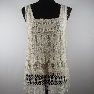 Pins and Needles Cream Crochet Tank Top